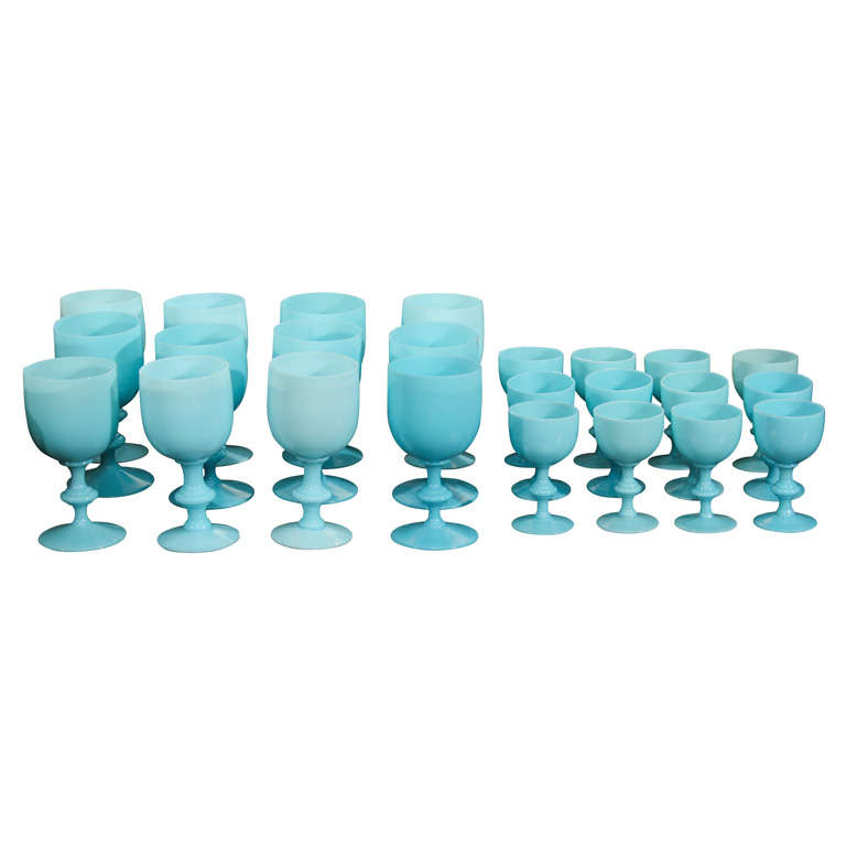 French Blue Opaline Glassware For Sale
