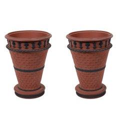Pair 18th Century Wedgwood Rosso Antico Stoneware Vases with Black Basalt