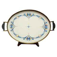 German Jugenstil pewter, brass and pottery tray