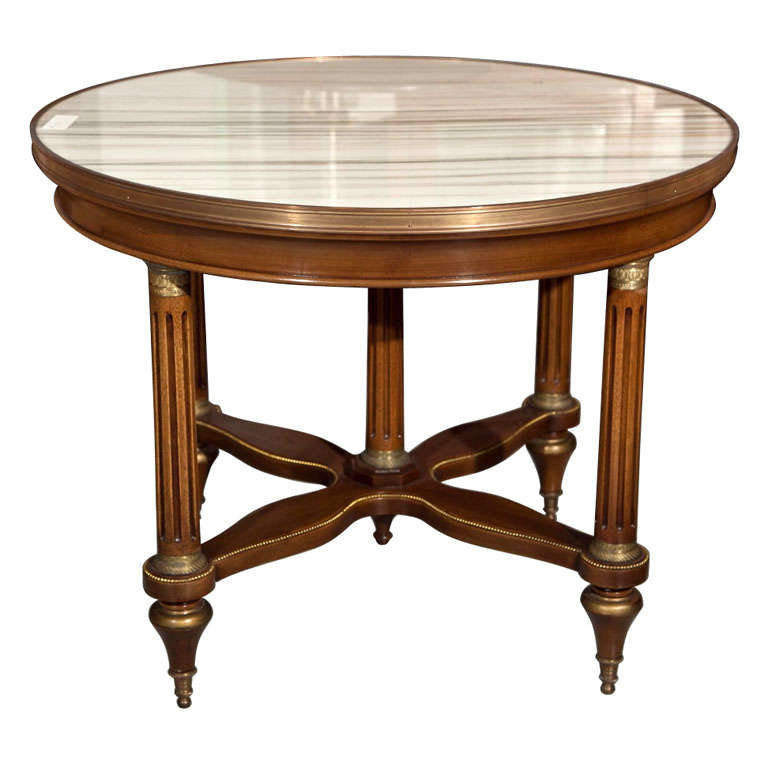 French Marble Top Coffee Table C 1930: X.jpg