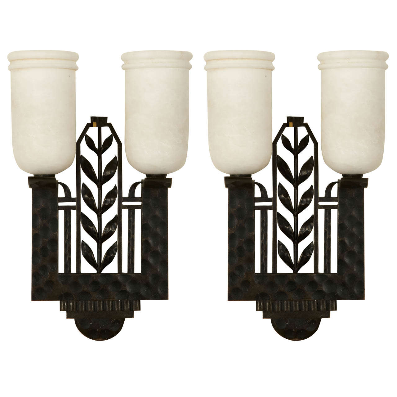 Rare Pair Of Circa 1925 Sconces Signed By Edgar Brandt At