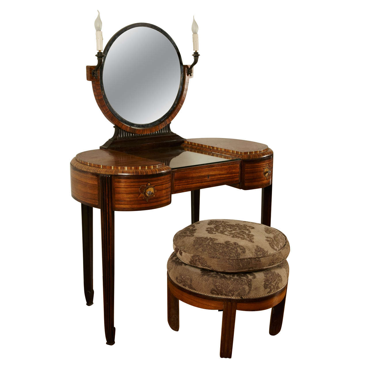 Art Deco Dressing Table with Stool by Krieger, circa 1925 For Sale