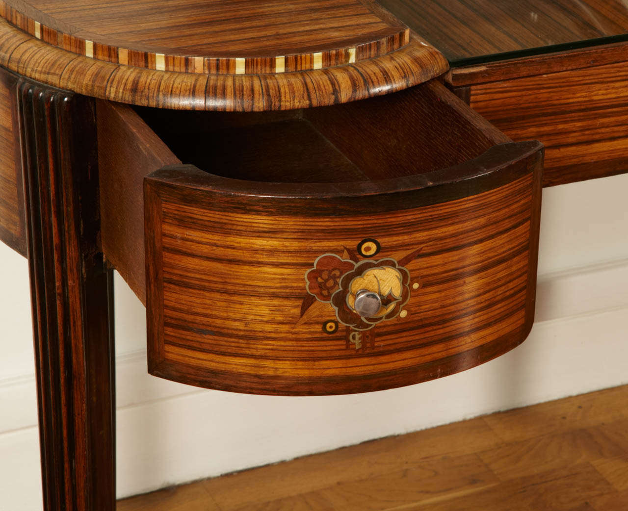 Marquetry Art Deco Dressing Table with Stool by Krieger, circa 1925 For Sale