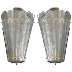 Important Pair of Murano Glass Lanterns