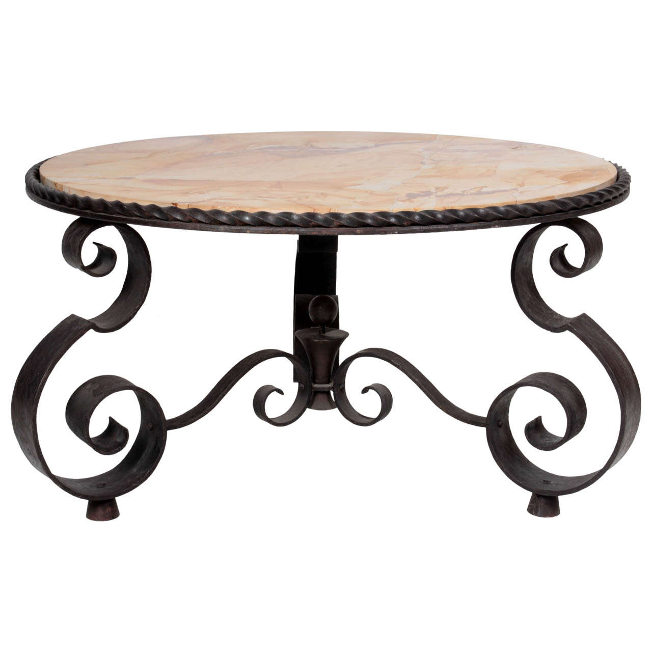 Wrought Iron Coffee Table With Drawers: Raymond Subes Or French Art Deco Wrought Iron Coffee Table