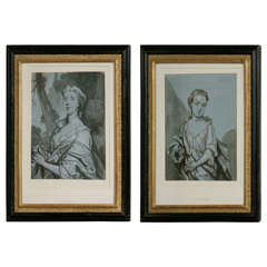 Pair of Early 18th Century Portrait Drawings Attributed to Byng