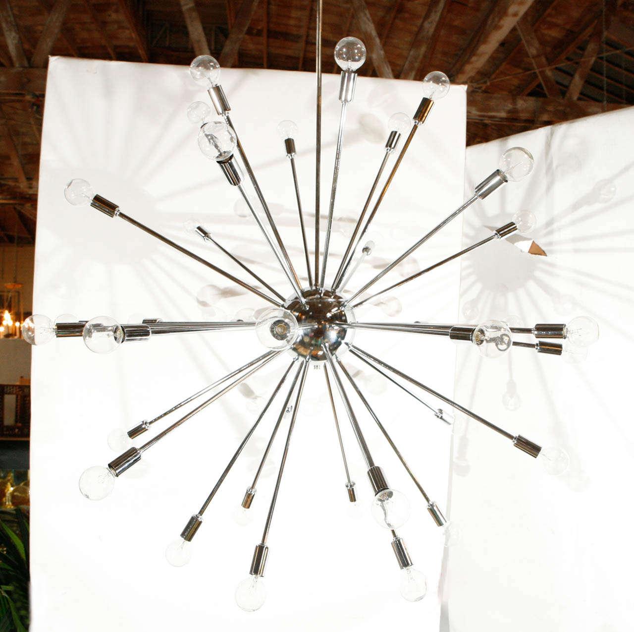 A spectacular thirty-six-light Sputnik chandelier. Chandelier is 36