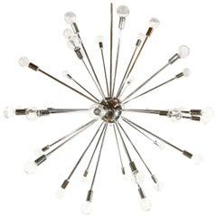 Thirty-Six-Light Chrome Sputnik Chandelier