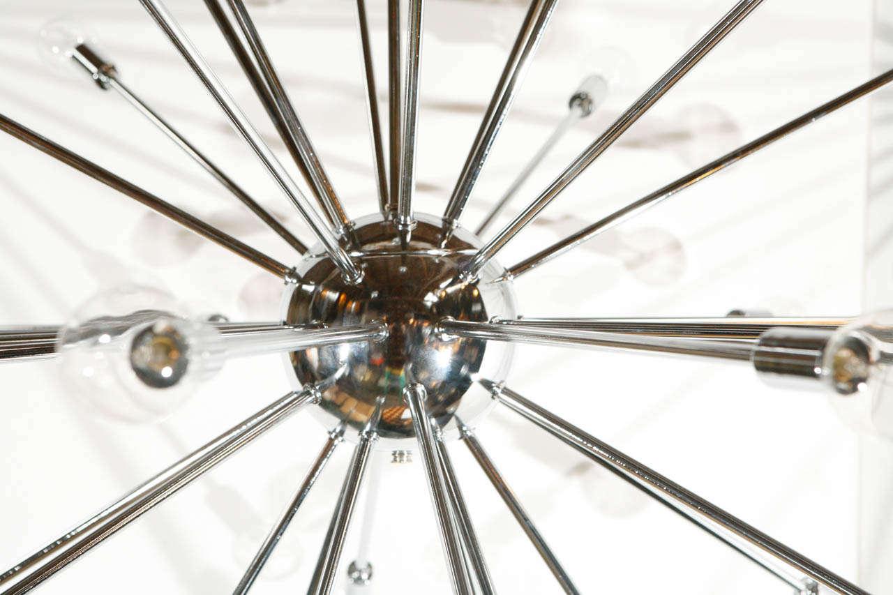 Mid-Century Modern Thirty-Six-Light Chrome Sputnik Chandelier For Sale