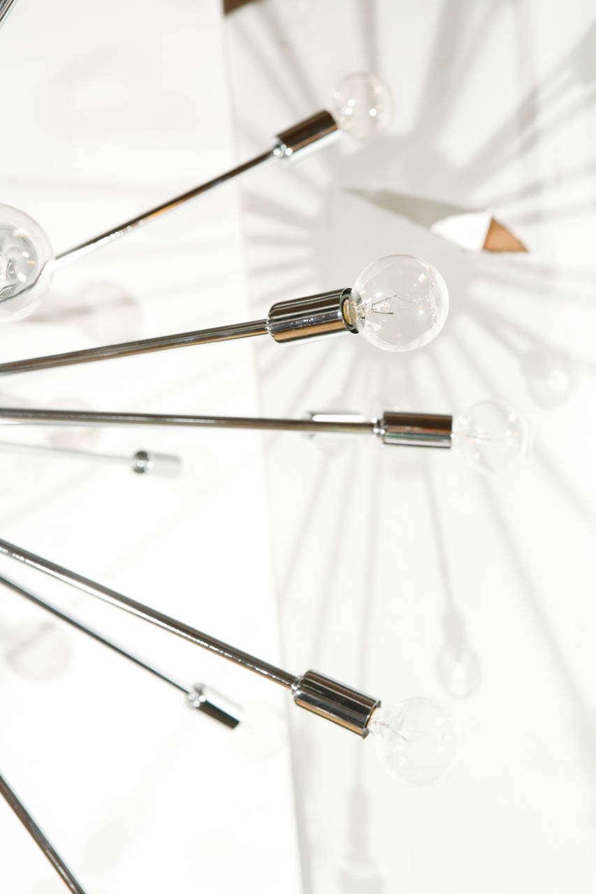 Thirty-Six-Light Chrome Sputnik Chandelier For Sale 1
