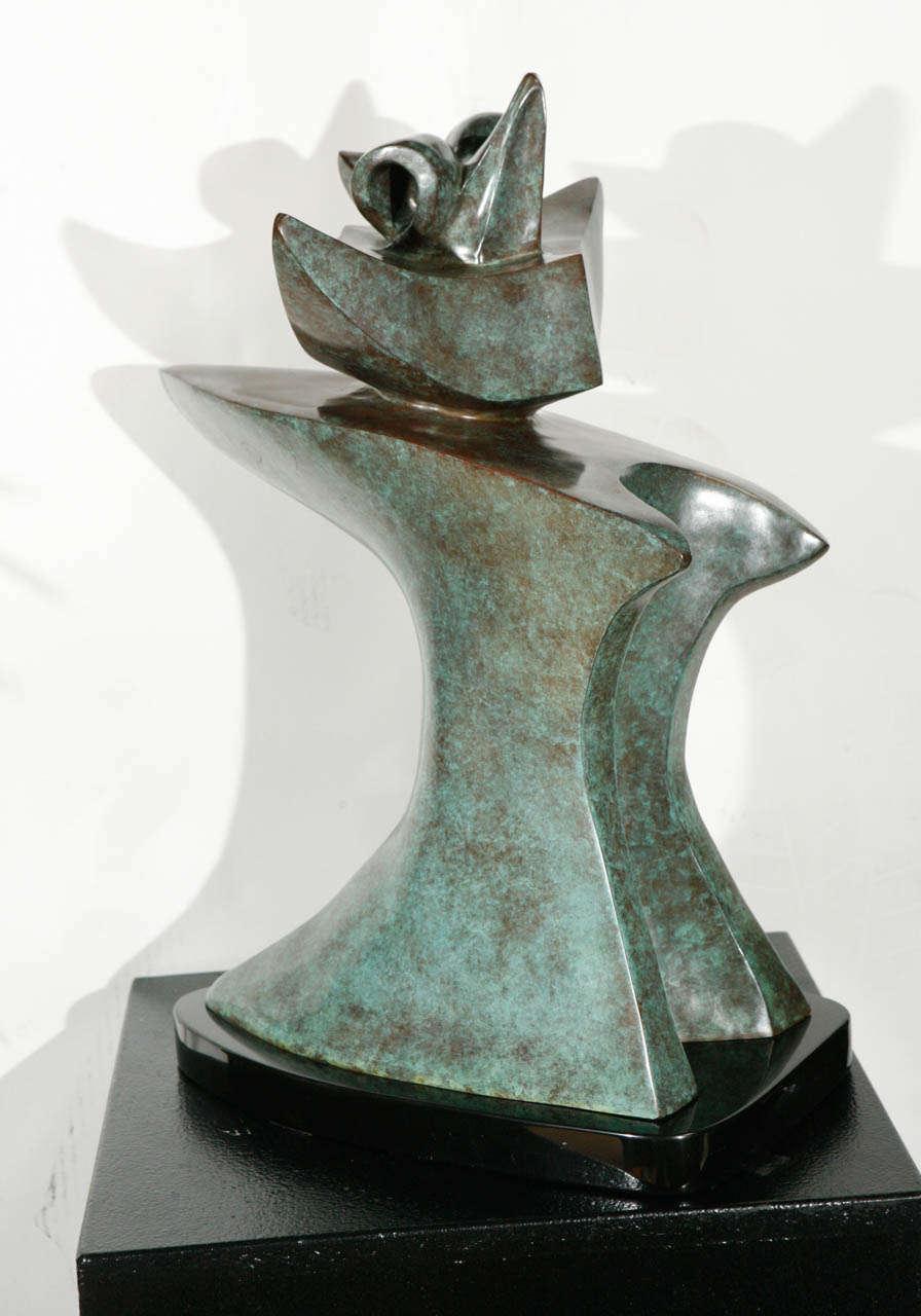 verdigris finish bronze sculpture by sy rosenwasser for sale at 1stdibs. Black Bedroom Furniture Sets. Home Design Ideas