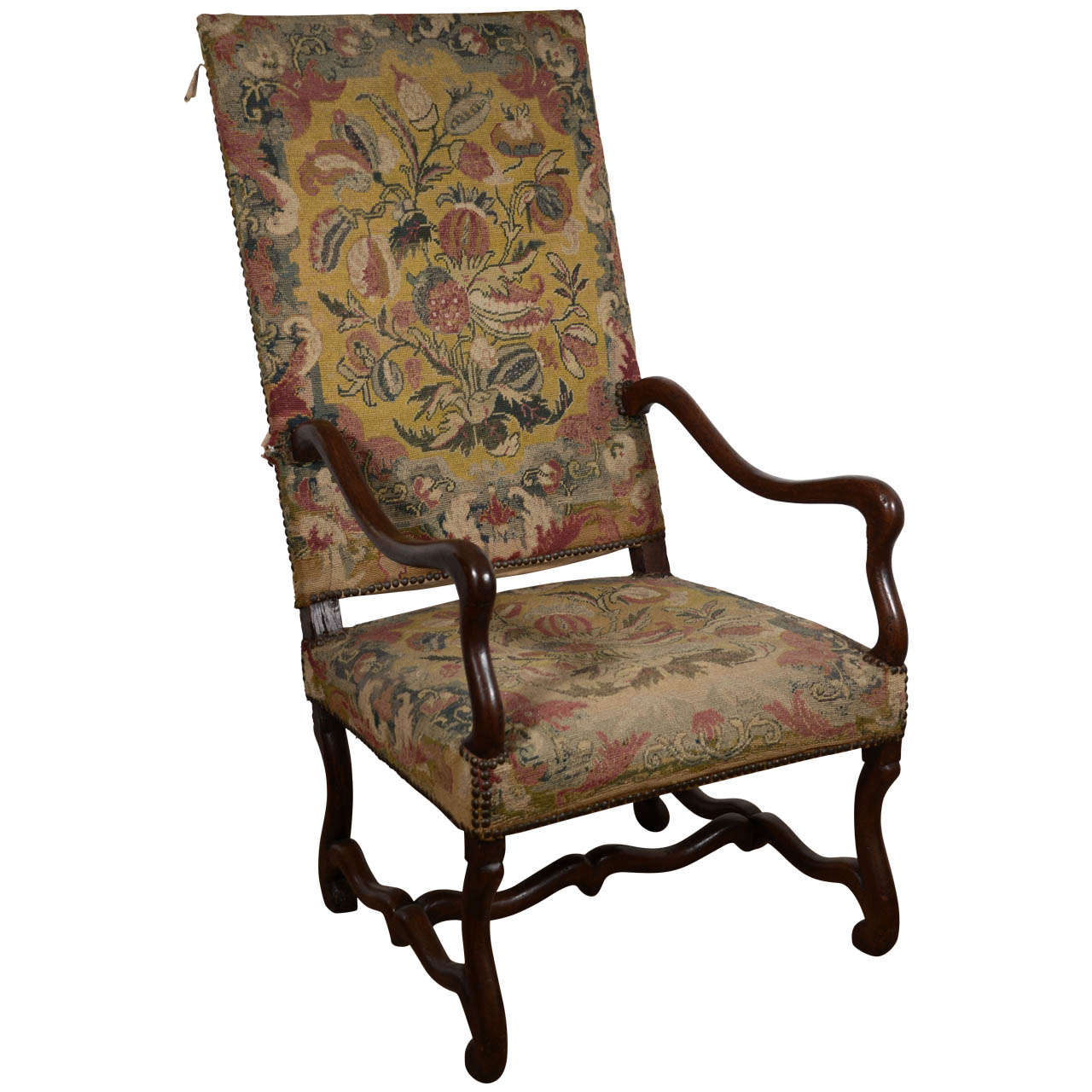 19th century french fauteuil with original tapestry at 1stdibs. Black Bedroom Furniture Sets. Home Design Ideas