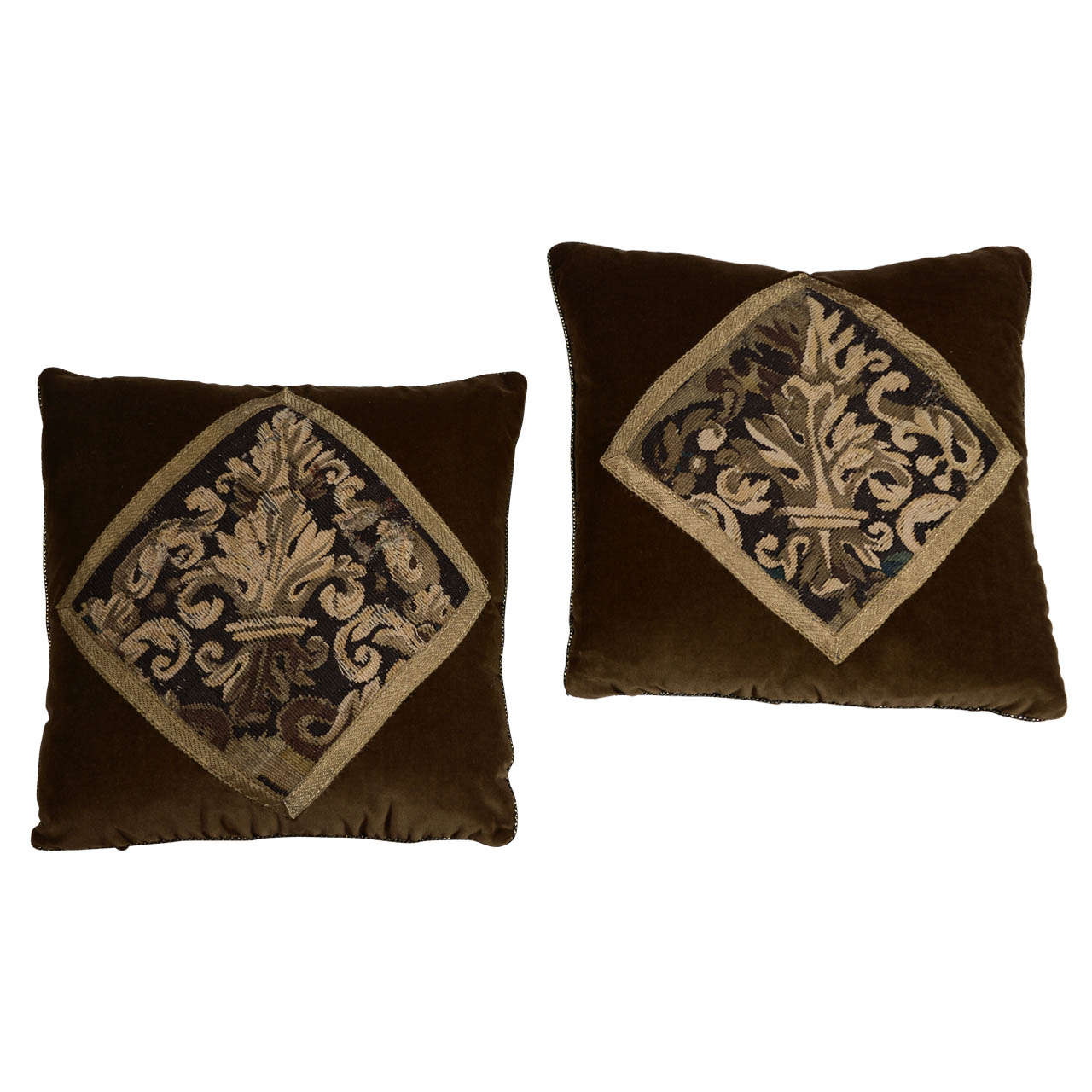 Pair of 18th Century Tapestry Pillows For Sale