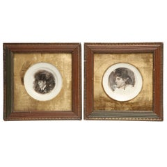Two Framed Smoke Portraits Believed to be Oscar Wilde and his Wife