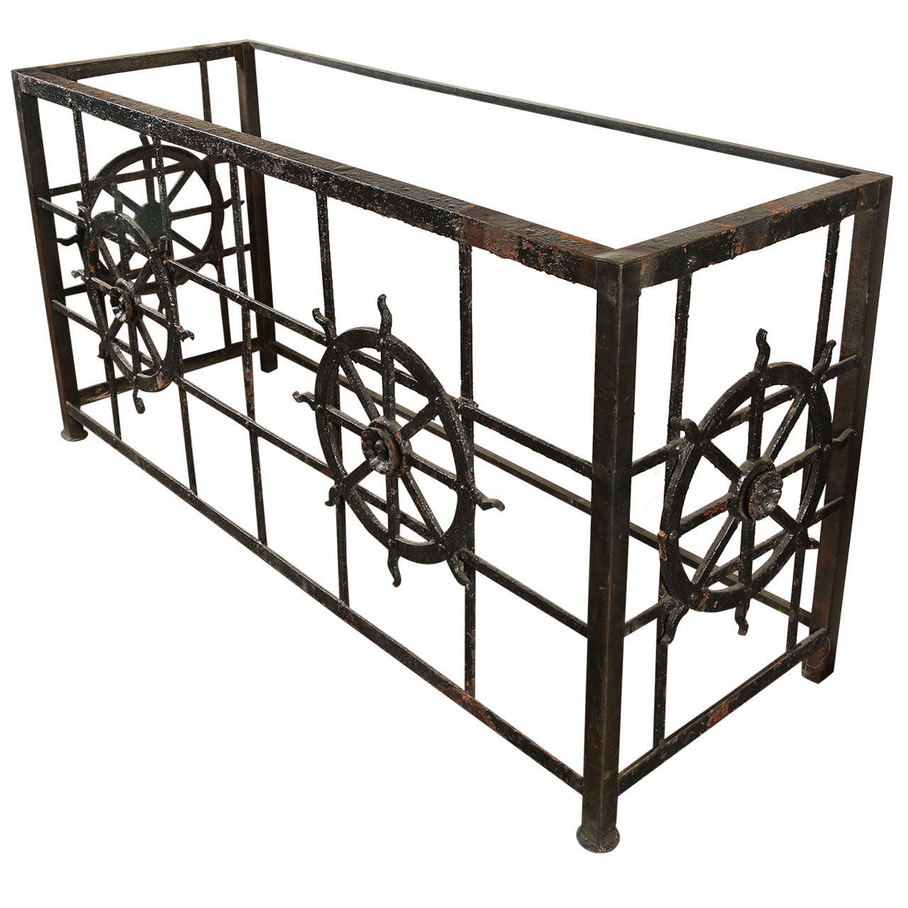 Cast iron side table made from old balcony at 1stdibs for Cast iron end table