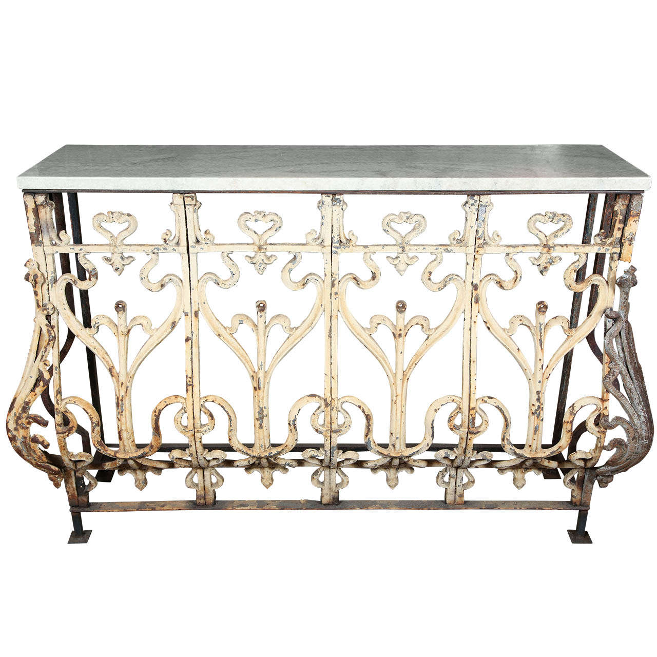 Console table made from an argentinean balcony with marble for Balcony console
