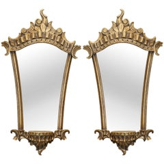 Pair Vintage Italian Gilded & Mirrored Baroque Style Wall Brackets