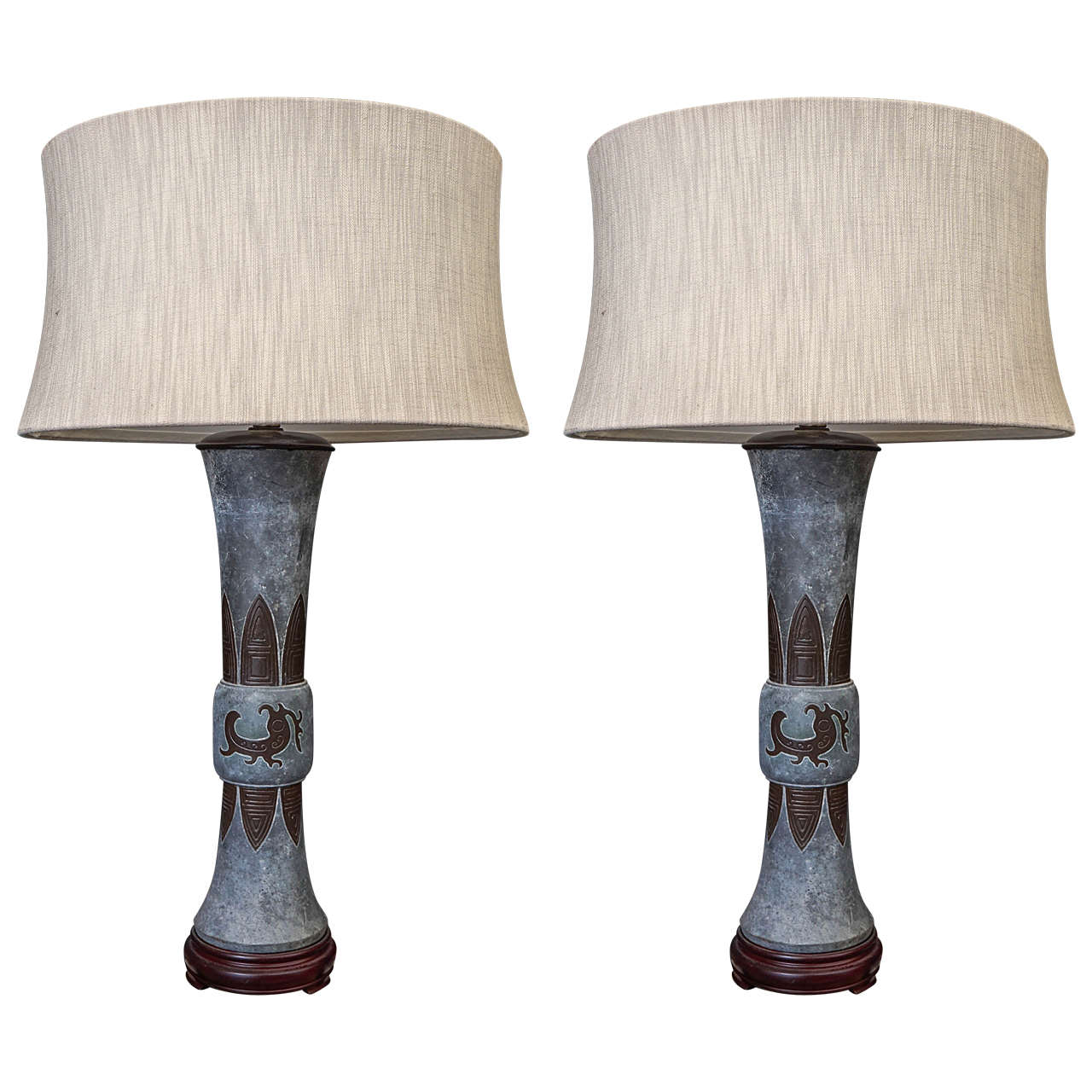 Pair 19th Century Chinese Lead Vases Inlayed with Bronze Lamps