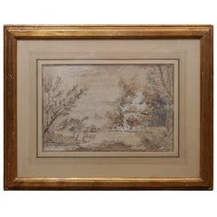French 18th Century Pen & Ink  with Gauche Landscape Drawing