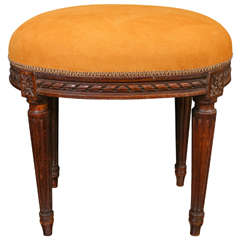 Late 19th Century Carved Oak Louis XVI Stool