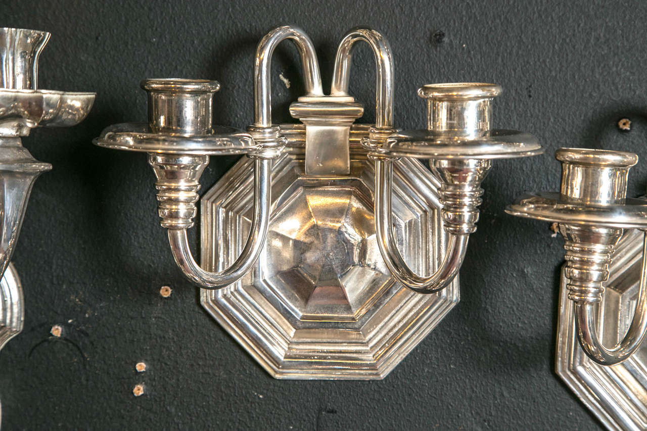 Pair of Silver Plated Caldwell Sconces 2