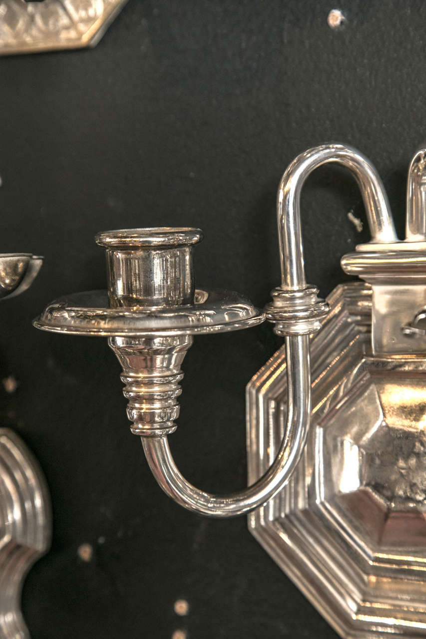 Pair of Silver Plated Caldwell Sconces 3