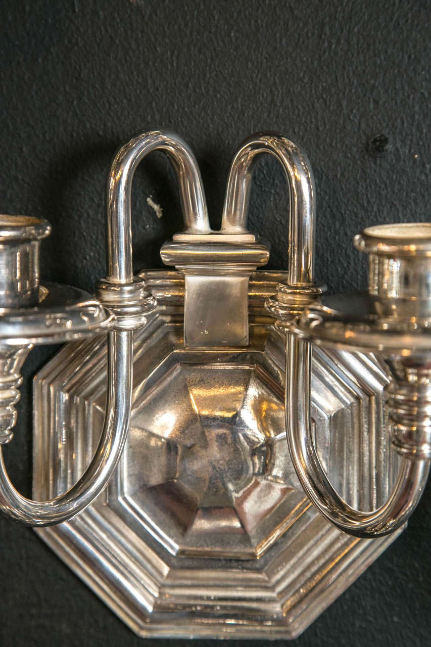 Pair of Silver Plated Caldwell Sconces 5
