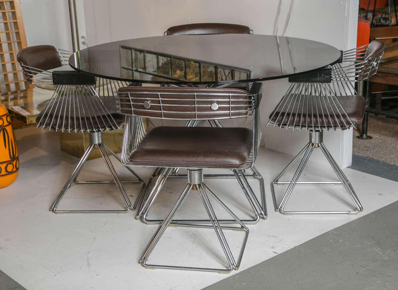 rudi verelst chrome and glass dining set at 1stdibs
