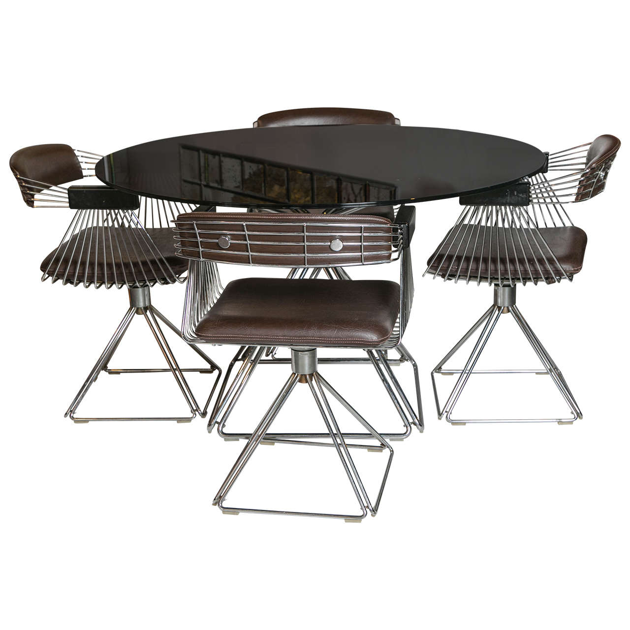 Rudi Verelst Chrome And Glass Dining Set For Sale