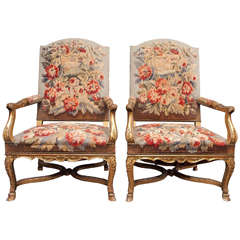 Louis XV French 19th Century Gilded Chairs
