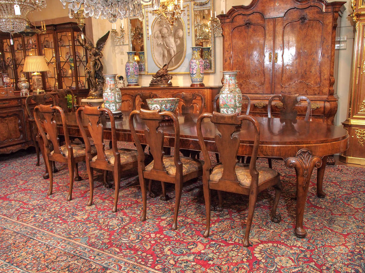 Antique english walnut fine quality dining table circa for Quality dining tables