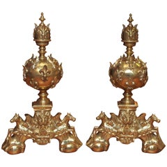 Pair of Antique French Early 19th Century Bronze Andirons