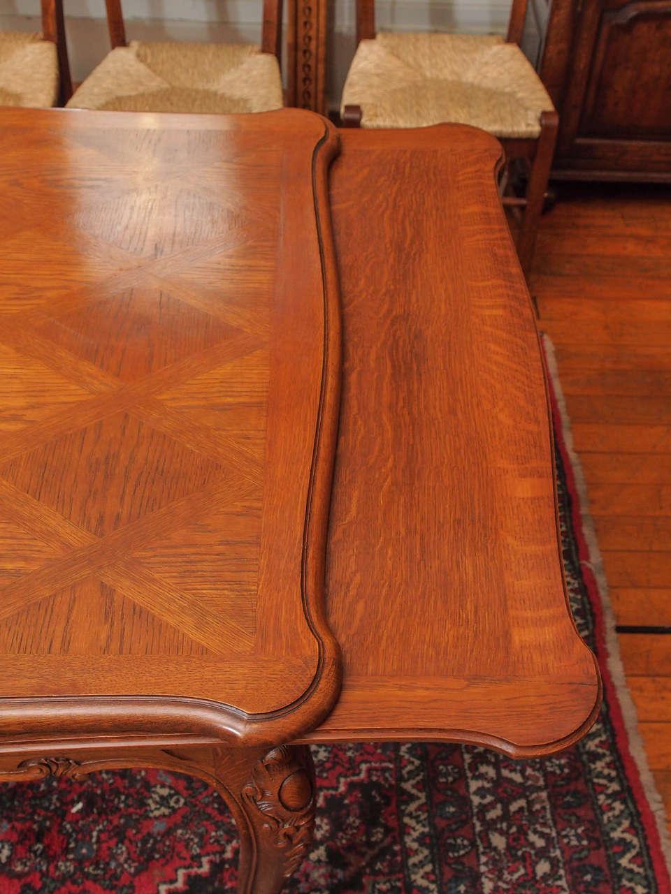 Antique Oak Parquet Draw Leaf Dining Table Circa 1910