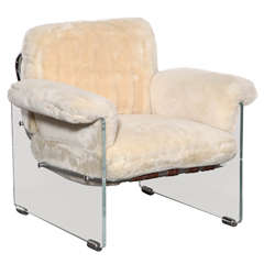 Pace Argenta Lucite & Shearling Floating Club Chair