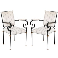 Pair of 20th c. French Iron and Gilt Armchairs in the Manner of G. Poillerat