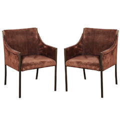 Pair of 1960s Bronze and Brown Suede Chairs