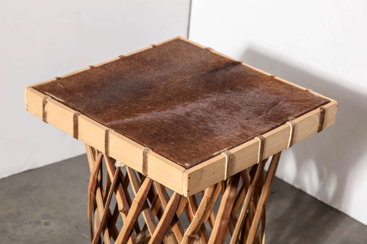 Handmade Mexican Wood And Hide Table At 1stdibs
