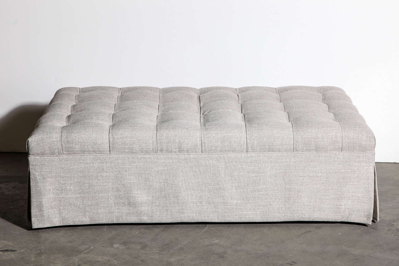 Awesome Large Custom Tufted Ottoman In New Nate Berkus Linen 2