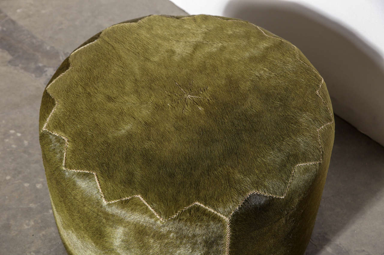 Henry Beguelin Casablanca Pouf in Green Cowhide For Sale 1