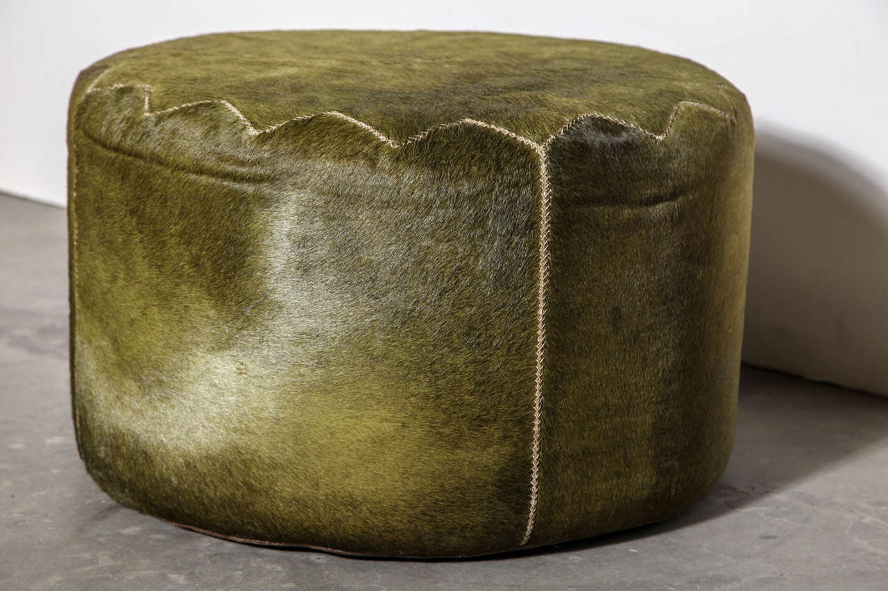 Henry Beguelin Casablanca Pouf in Green Cowhide For Sale 2