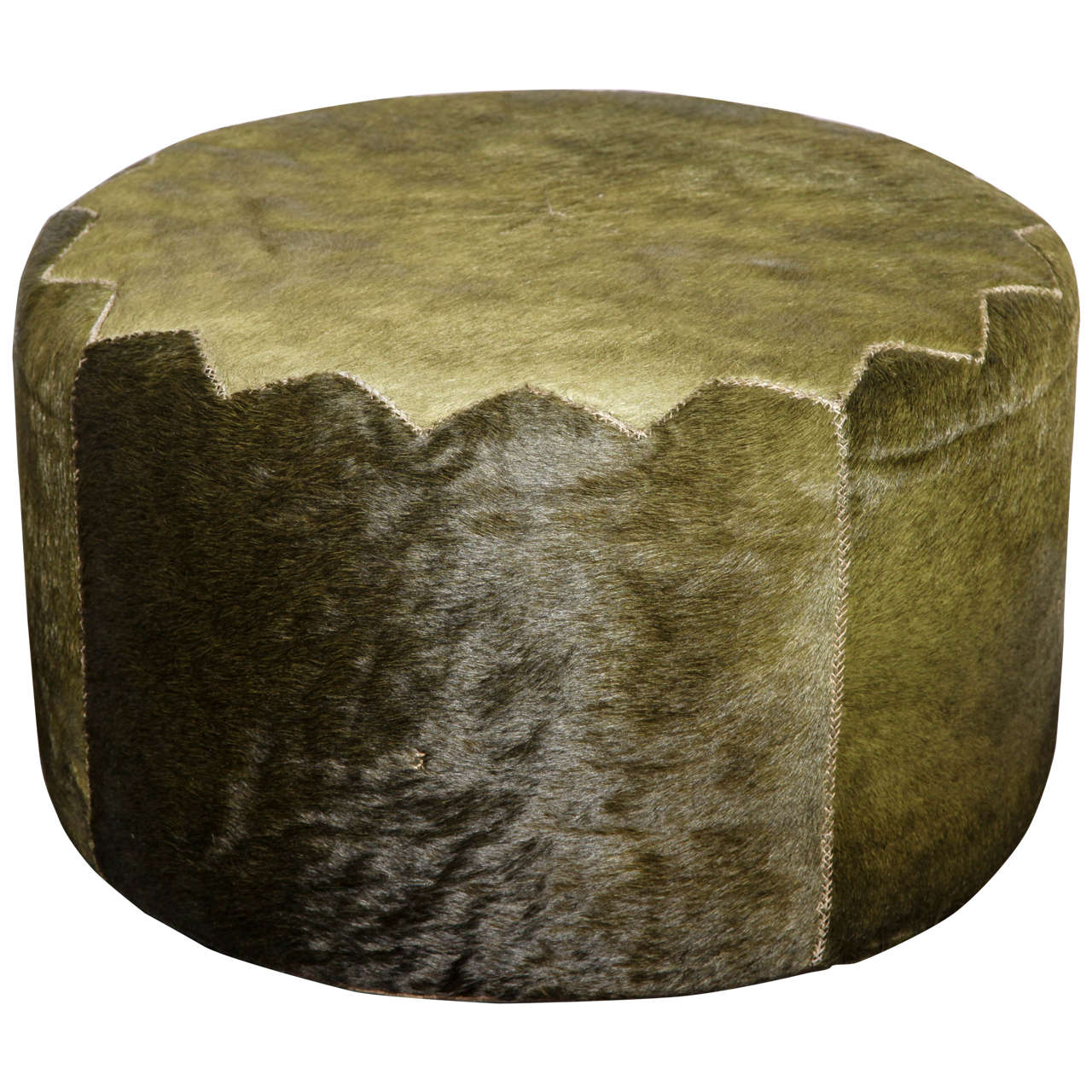 Henry Beguelin Casablanca Pouf in Green Cowhide For Sale