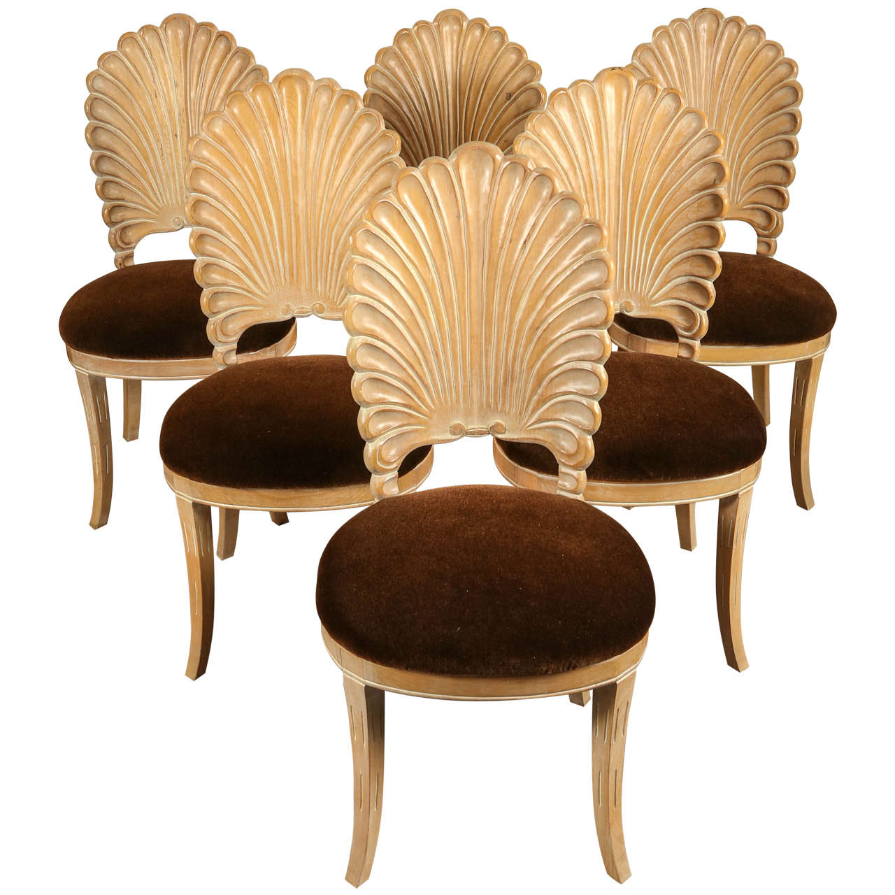 Six italian shell back carved chairs at stdibs