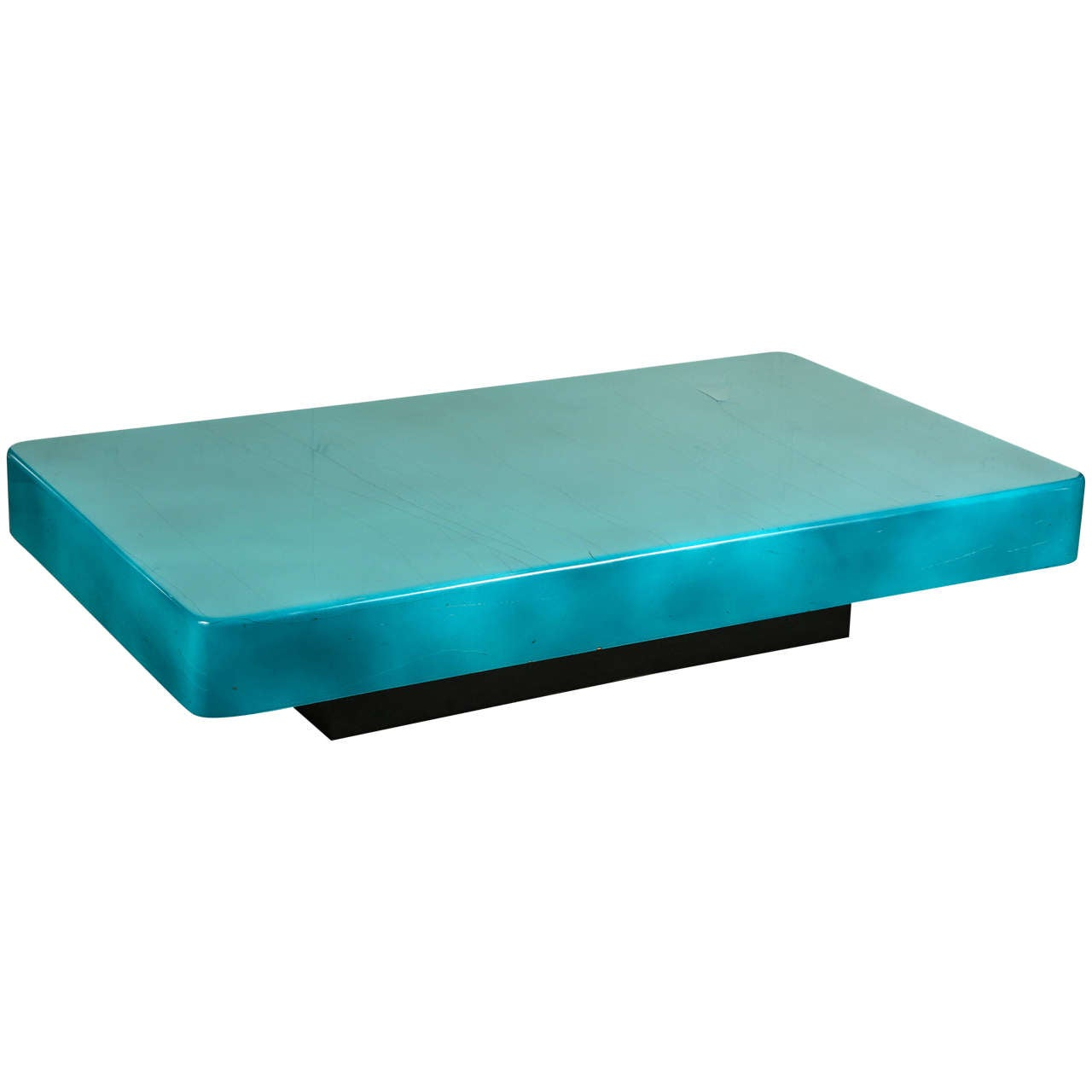 Stunning peacock blue coffee table by aldo tura at 1stdibs for Peacock coffee table