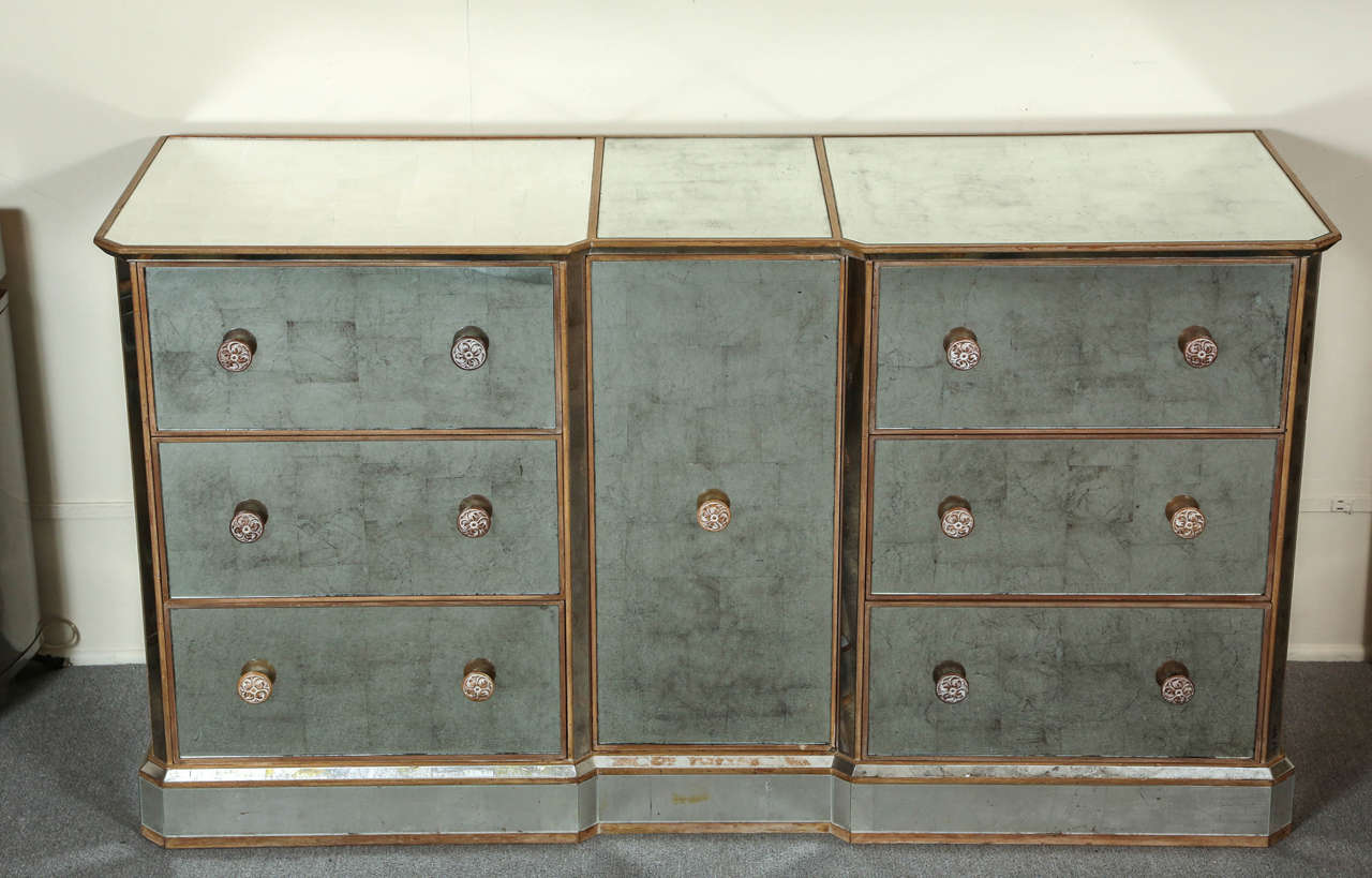 Reverse Silver Leaf Mirrored Cabinet at 1stdibs