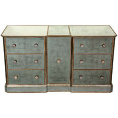 Reverse Silver Leaf Mirrored Cabinet
