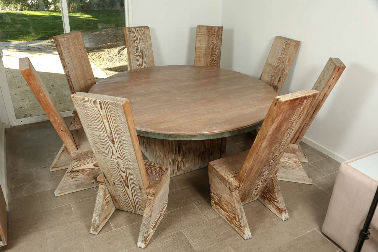 Dining table with eight matching chairs at 1stdibs for Matching dining room furniture