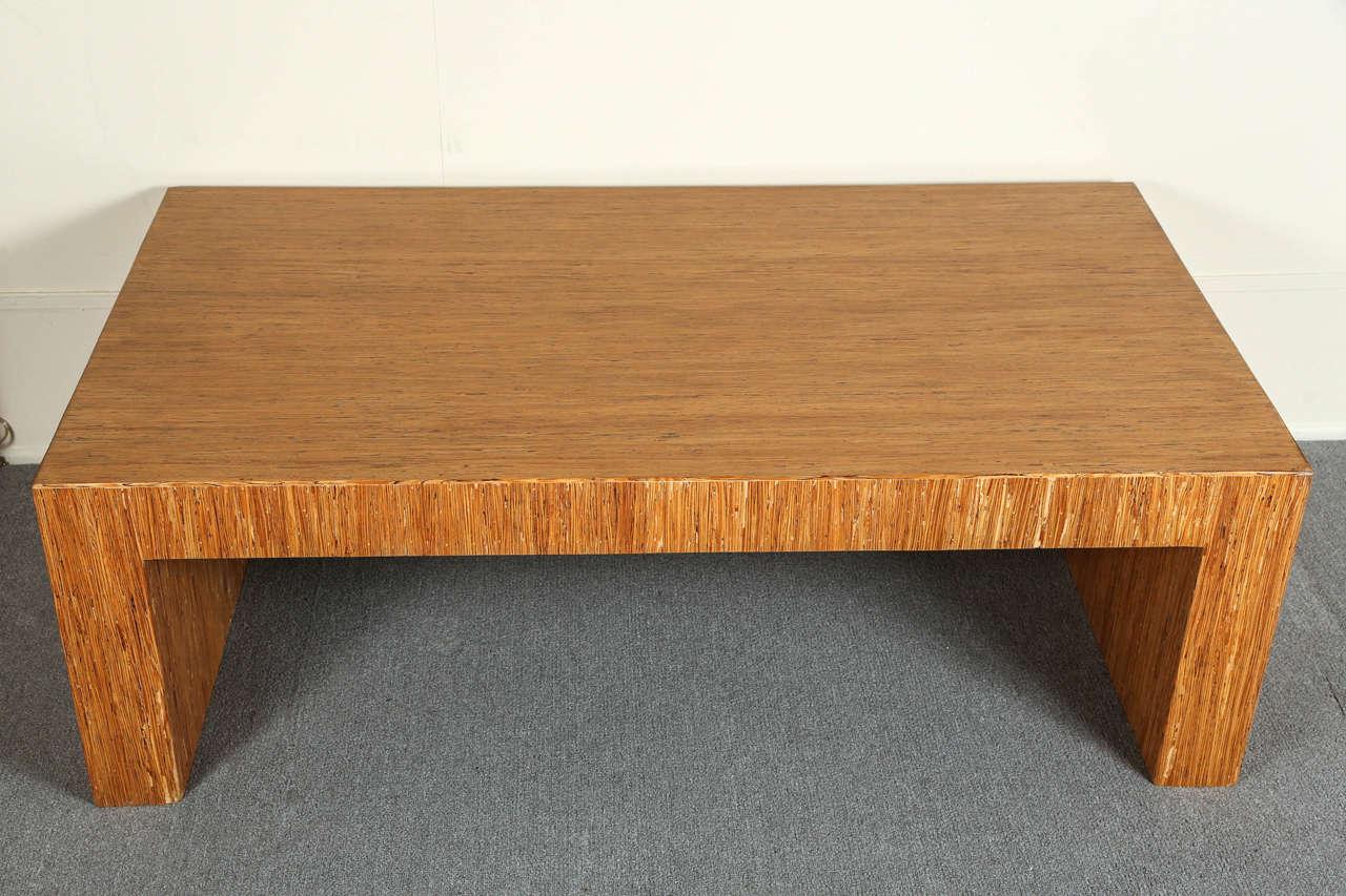Simple Minimalist Coffee Table With Striated Wood Veneer At 1stdibs