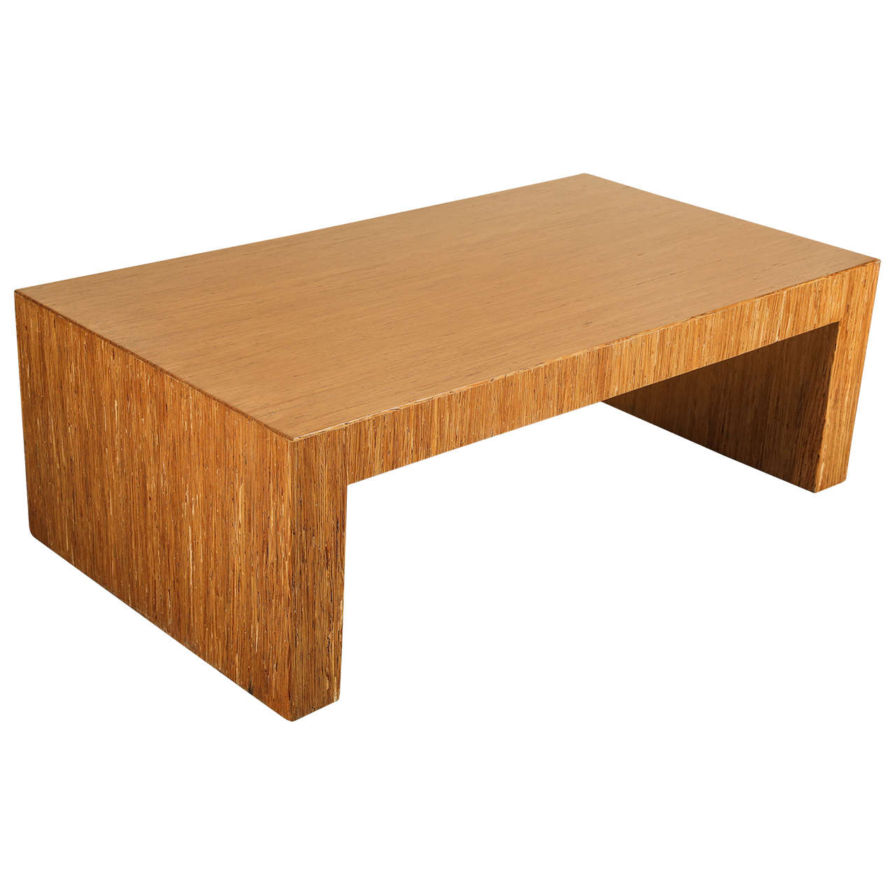 simple minimalist coffee table with striated wood veneer