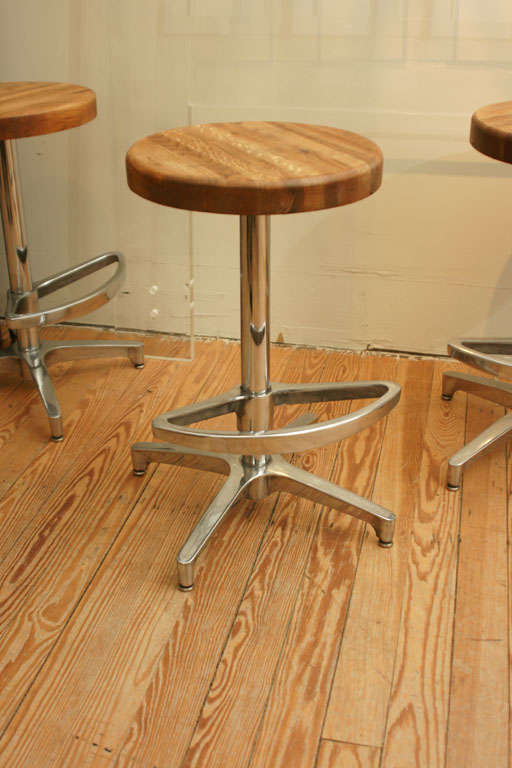 Butcher block and aluminum counter height stool for sale at 1stdibs - Aluminum counter height stools ...