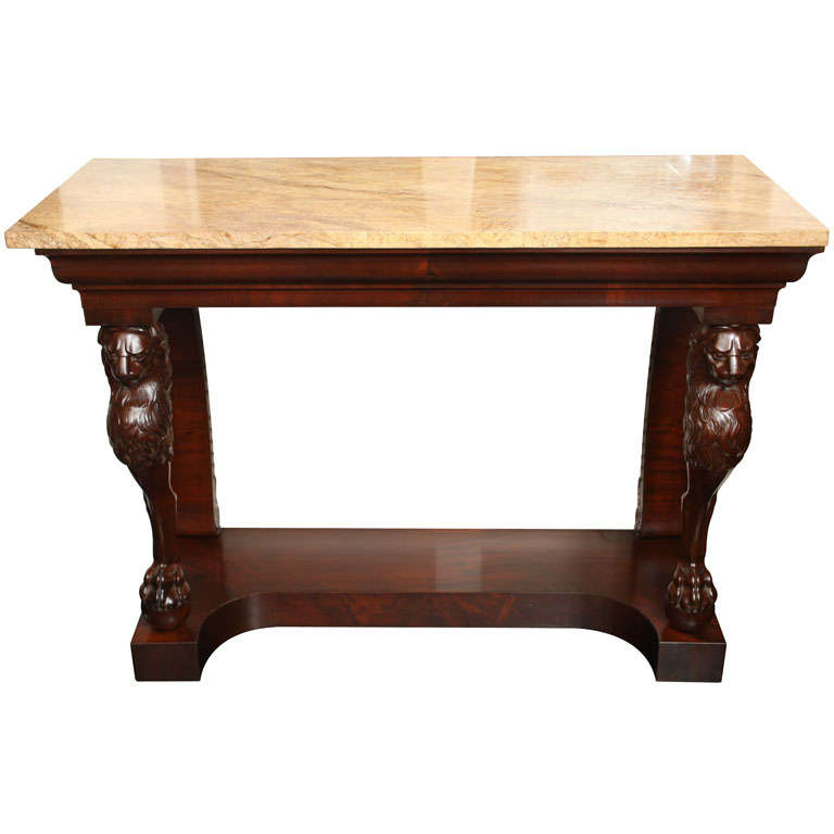 First Empire Mahogany Console with Veined, Beige Marble Top